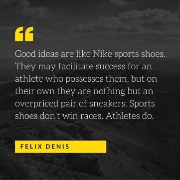 Winning the race.